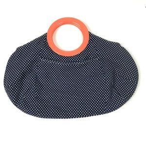 J.Crew Polka Dot Circle Handle Canvas Handbag